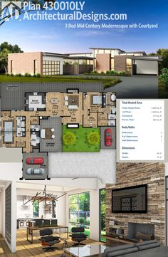 Architectural Designs House Plan 430010LY has a mid-century air to it with a courtyard, 17'-high ceilings in the great room and three beds in a split bedroom layout. Over 2,800 square feet of heated living area. Ready when you are. Where do YOU want to build?
