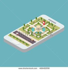 Flat 3d web vector isometric park with the road and phone.Mobile GPS navigation.View a map on the mobile phone on  park and search GPS coordinates.