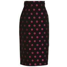 Preowned Patrick Kelly 1980s Black And Pink Polka Dot Pencil Skirt (475 BAM) ❤ liked on Polyvore featuring skirts, pencil skirts, pink, pink and black skirt, metallic skirt, 80s skirts, pink pencil skirt and knee length pencil skirt
