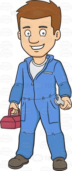 A Smiling Plumber Carrying A Wrench And Toolbox #adult #adultmale #artificer #artisan #boots #civilian #craftsman #full-grown #fullygrown #gentleman #grown #grownup #human #humanbeing #individual #job #line #lineofwork #male #maleperson #man #mature #mortal #occupation #overalls #paid #person #pipe #pipefitter #pipewrench #plumber #pro #professional #professionalperson #shirt #skilledworker #skilledworkman #somebody #someone #trainedworker #whitecollar #work #wrench #vector #clipart #stock