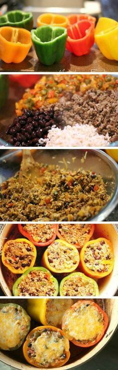 Making Mexican Stuffed Peppers!