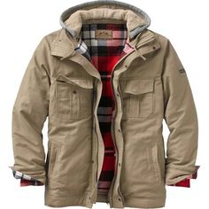 This could be the perfect all around canvas jacket! The perfect weight 8 oz. canvas is washed down for a comfortable fit right off the bat with a 100% cotton yarn dyed brushed flannel lining. Features 130 grams of insulation, heavy duty zipper with storm flap, zippered interior pocket, and an awesome fleece zip off hood with thick Sherpa lining. Cozy flannel lined hand warming pockets and Legendary® embroidered patch.