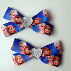 Disney FrozenPrincess Hair Bow Clip with Heart by OliverandMay, $5.25
