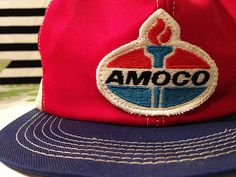 Amoco Trucker Cap - Vintage Mesh Red White and Blue