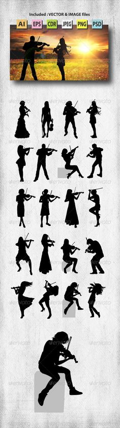Violinist Silhouettes - People Characters
