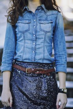 adorable combination: chambray shirt + braided brown belt + sequin skirt
