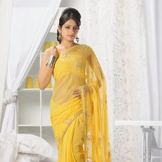 Yellow Faux Chiffon Saree with Blouse