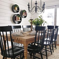 modern farmhouse dining room design, neutral dining room decor, fixer upper dining room ideas, with farmhouse table and chandelier with jute rug and black windsor dining room chairs and shiplap Dining Room Wall Decor, Dining Room Design, Kitchen Decor, Room Decor, Farm House Dinning Room, Dining Room In Kitchen, Farmhouse Dining Room Lighting, Dining Room Shelves, Classic Dining Room