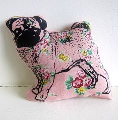 Pug Plush Pillow Ornament Decoration Pink Floral Linen. LOVE. IT'S A MUST HAVE