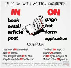 IN or ON with written documents