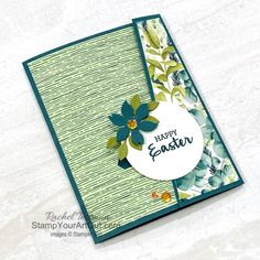 Click here to see how to make an interactive Sliding Lock Easter-themed card featuring the Arrange a Wreath Stamp Set, Forever Greenery Designer Paper, Wreath Builder Dies, the soon-to-be retiring 2019-21 In Color, Pretty Peacock (a favorite green that will be missed by many). Thank you, Chris Slogar for the inspiration! You'll be able to access measurements, the how-to video, other close-up photos, and links to the products I used. - Stampin' Up!® - Stamp Your Art Out! www.stampyourart... Fancy Fold Cards, Folded Cards, Online Paper, Interactive Cards, Shaped Cards, Lucky Day, Close Up Photos, Paper Design, Stampin Up Cards