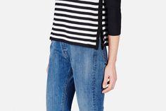 Edun — Pique Combo Raglan Sweater   Black — THE LINE