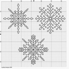 Three blackwork snowflakes - very delicate Motifs Blackwork, Blackwork Cross Stitch, Cross Stitch Charts, Cross Stitch Designs, Cross Stitching, Cross Stitch Patterns, Kasuti Embroidery, Cross Stitch Embroidery, Embroidery Designs