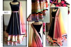 Buy Black Net Anarkali With Multi Color Dupatta By Purple Oyster online | Craftsvilla