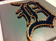 Lets Go Detroit Tigers Old English D String by Kristiestringart