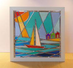 Seaside stained glass, suncatchers, tea-lights, framed stained glass panels, windows, doors. Seaside scenes Northumberland, Blyth, St. Marys Lighthouse