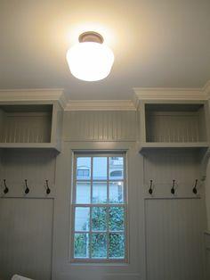 laundry/mud rooms - Sherwin Williams - Magnetic - Sherwin Williams Creamy crown molding gray green walls beadboard walls schoolhouse light  Fantastic