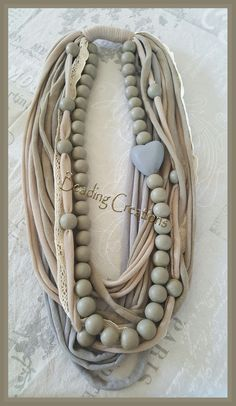 HANDMADE OOAK WOODEN BEADED SPAGHETTI YARN T-SHIRT FABRIC NECKLACE - BEIGE, SAND, GREY AVAILABLE FOR SALE AT: http://www.bidorbuy.co.za/seller/366992/Beadingcreations