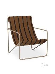 Desert Lounge Chair Stripes by Ferm Living is a modern outdoor chair. A tubular steel metal frame with a brown stripes fabric made from recycled bottles! Lounge Design, Garden Furniture, Furniture Design, Outdoor Furniture, Modern Outdoor Chairs, Outdoor Spaces, Striped Chair, Muuto, Design Bestseller
