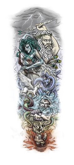 A huge sleeve tattoo that I designed for a customer online. It's based on greek mythology of course. The characters used and/or hinted at, from totp to bottom are as follows... Zeus, Medusa, Hera, ...