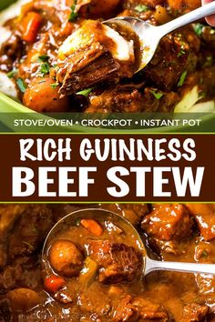 This comfort food is the King of all Irish beef stews, with the Guinness and coffee flavors melding perfectly to give way to a deep, rich, lusciously savory sauce that simmers away to tenderize the beef and vegetables until they Soup Recipes, Cooking Recipes, Chili Recipes, Recipies, Dinner Recipes, Irish Recipes, Potato Recipes, Casserole Recipes, Pasta Recipes