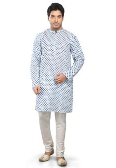 WHITE & BLUE COTTON READYMADE KURTA WITH CHURIDAR