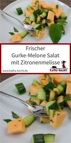 Gurke Melone Salat mit Zitronenmelisse This fresh cucumber-melon salad with lemon balm tastes wonderfully light not only in the summer … Melon Recipes, Summer Recipes, Salad Recipes, Summer Dishes, Summer Salads, Fresco, Light Summer Dinners, Eggplant Dishes, Fairy Cakes