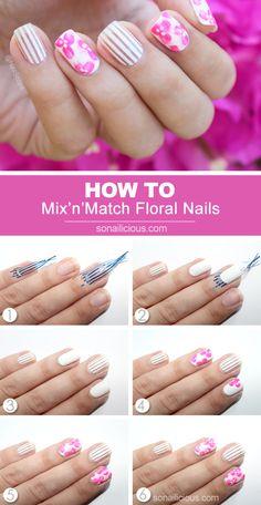 Pink floral nail art tutorial