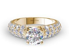 Three-Row Pave Set Diamond Engagement Ring In Yellow Gold