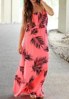 Red Floral Pleated Print Bandeau Bohemian Maxi Dress - Maxi Dresses - Dresses