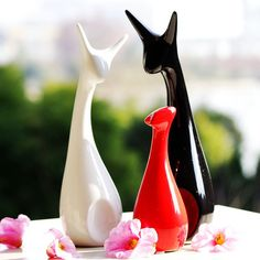 Modern Abstract Porcelain Deer Family Chinese by VaporFan on Etsy