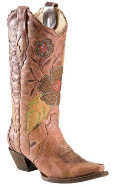 Corral® Ladies Distressed Brown with Daisy Embroidery Snip Toe Western Boots | Cavender's Boot City