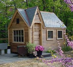 "From our recent short blog post on ""Who Knew Roofing Could Be So Cute?"" Pictured is our 8' x 12' ""Dollhouse"", a wooden playhouse with Vermont quarried slate roofing. http://jamaicacottageshop.com/knew-roofing-cute-kim-rak/"