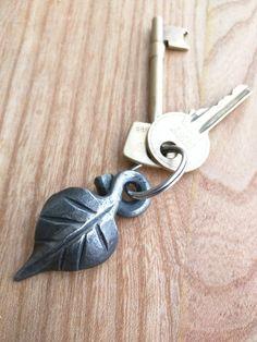 Leaf Keyring or Keychain, handmade ironwork by Tom Fell - Blacksmith