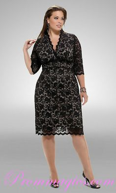 Plus+Size+Formal+Dresses+With+Sleeves | Lace V Neck Middle Sleeves Knee Length Plus Size Black Prom Dresses
