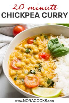 20 Minute Chickpea Curry is vegan gluten free and SO EASY to make! Made with coconut milk and curry paste. Vegan Recipes Beginner, Delicious Vegan Recipes, Vegetarian Recipes, Healthy Recipes, Vegetarian Options, Vegan Meals, Tasty, Indian Food Recipes, Whole Food Recipes