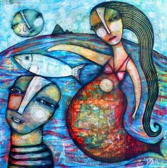 Mermaid by Dan Casado outsider folk art