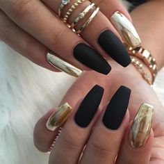 matte black and gold mirror nail