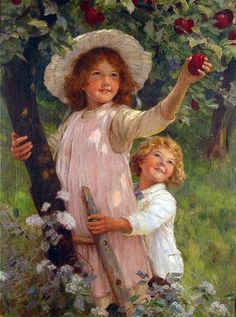 """""""Gathering Plums"""" -- by Fred Morgan (1847 – 1927, English)"""