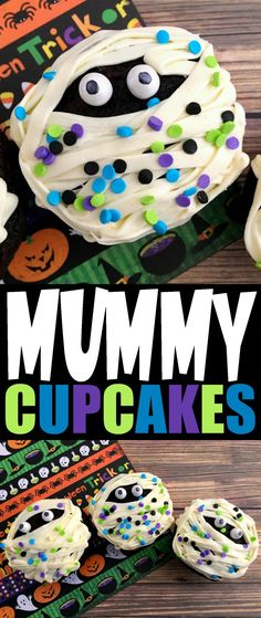 Cupcakes These Mummy Cupcakes are a fun and spooky Halloween treat that kids will love. Perfect for serving at a Halloween party!These Mummy Cupcakes are a fun and spooky Halloween treat that kids will love. Perfect for serving at a Halloween party! Halloween Desserts, Hallowen Food, Halloween Goodies, Halloween Food For Party, Halloween Birthday, Halloween Halloween, Halloween Celebration, Halloween Cup Cakes Ideas, Halloween Treats For School