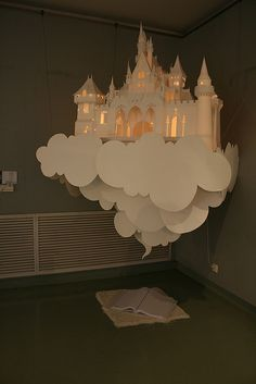 ₪ Paper Art Potpourri ₪ floating paper castle in the clouds Up Book, Book Art, Paper Crafts, Diy Crafts, Stick Crafts, Resin Crafts, Artsy Fartsy, Paper Cutting, Cut Paper Art