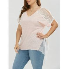 Plus Size Slit Sleeve Lace Trim T-Shirt - Light Apricot Pink Mobile Plus Clothing, Clothing Sites, Trendy Plus Size Clothing, Plus Size T Shirts, Plus Size Outfits, Summer Patterns, Lace Crop Tops, Fashion Seasons, Cheap T Shirts