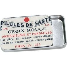 French Red Cross Pill Box, Treasure Box, Jewelry box, Card Case - Large