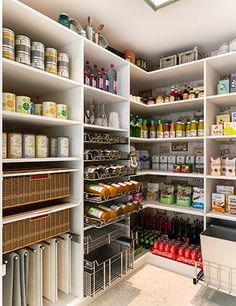 With spice racks, shelving, pull-out baskets, and even a rack for linens, your pantry could not be more organized than this. The melamine makes the unit sleek yet affordable. #pantry #closetfactory http://bit.ly/1U5oyBS