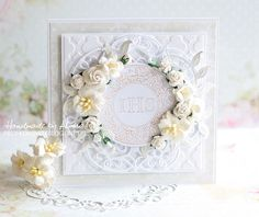 Pretty First Communion Cards, Flower Cards, Shabby, Scrapbooking, Layout, Create, Flowers, Wedding, Ideas
