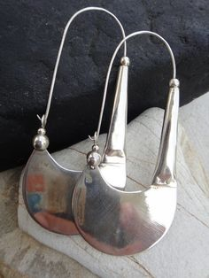 SPADE earring large  simple artisan ancient antique tribal