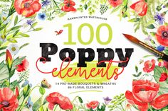 100 Watercolor Poppy Elements (from the Big Bundle) - 14 Premade Wreaths & Bouquets plus 86 Floral Elements including flowers, herbs, bees, butterflies, laurels, stems, a ladybug and a dragonfly  Poppies for $15 here: https://crmrkt.com/KWDA3 Big Bundle for $25 here: https://crmrkt.com/NpDXp