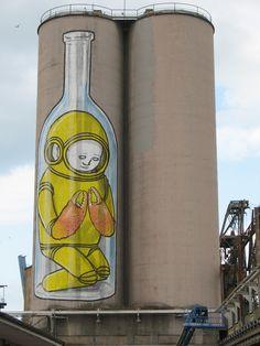 Image detail for -street-art-by blu-space-lobster-bottle