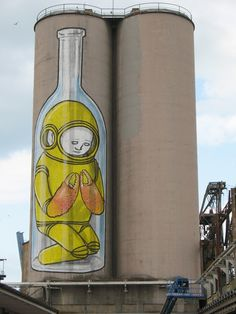 Image detail for -street-art-by blu-space-lobster-bottle