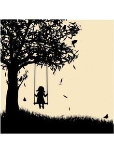 Silhouette Girl Tree Swinging AB-1704